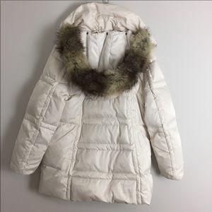 Jones NY • Ivory Down Coat With Faux Fur Trim Hood